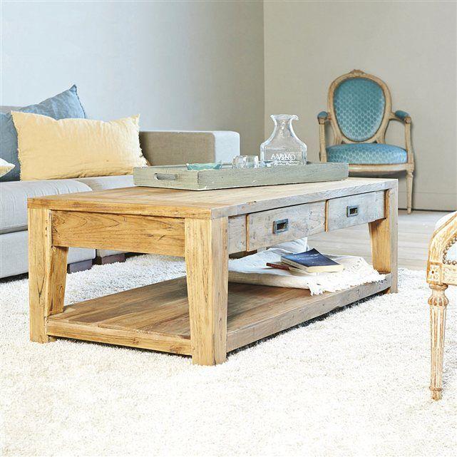 Table Basse Rectangulaire Teck Recycle 120cm Table Basse Bois Table Basse Mobilier De Salon