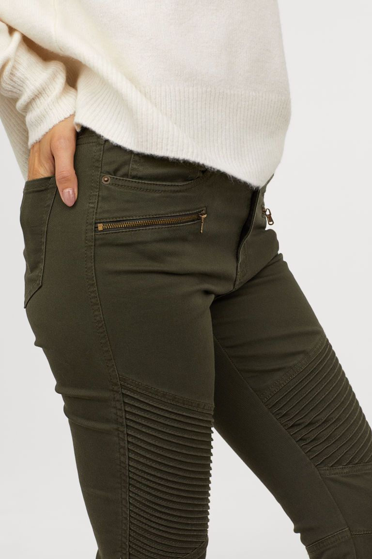 Pantalon Motero Verde Caqui Oscuro Mujer H M Es Pantalones Caqui H M