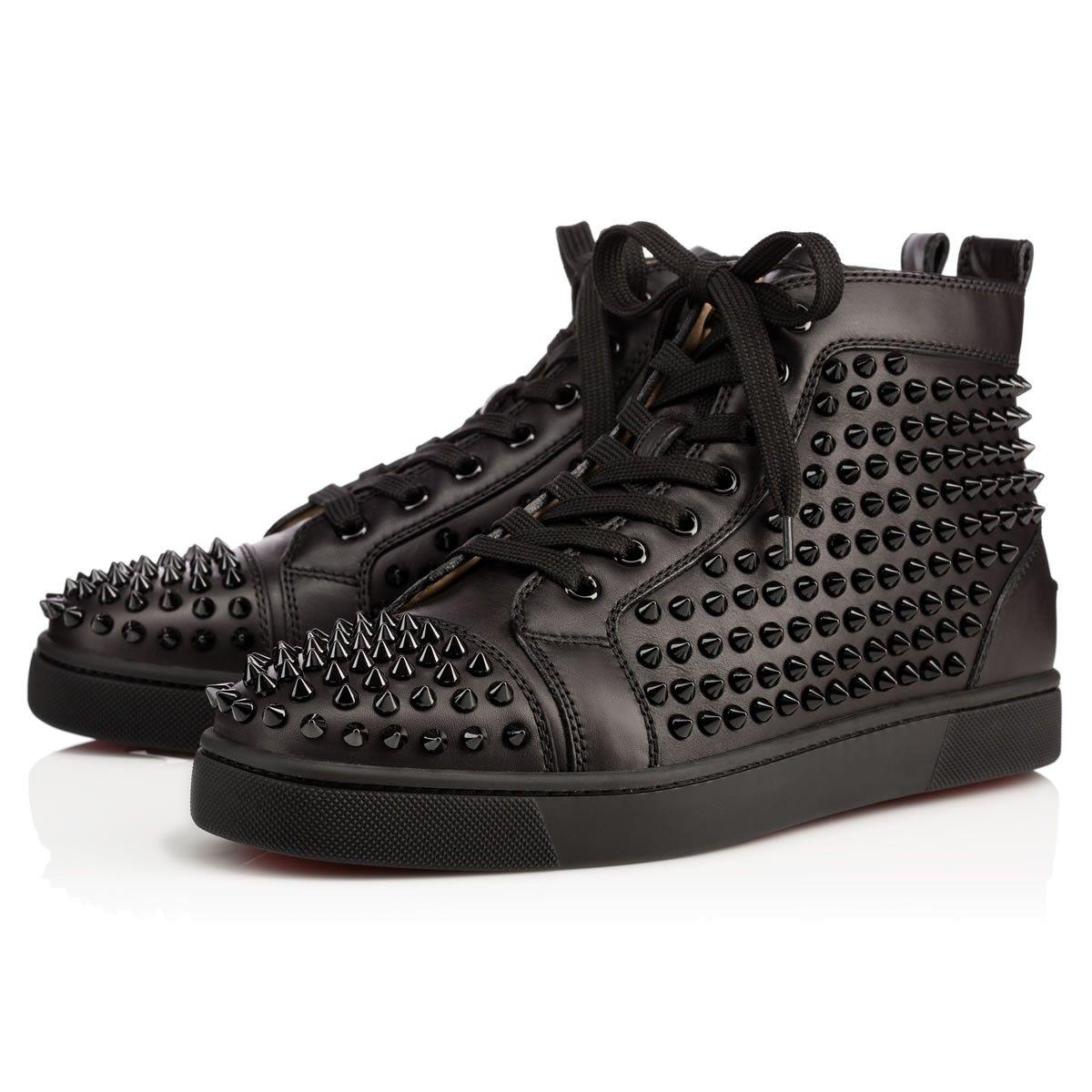 Louis Spikes Men's Flat Black/Black/Bk Leather - Men Shoes - Christian  Louboutin