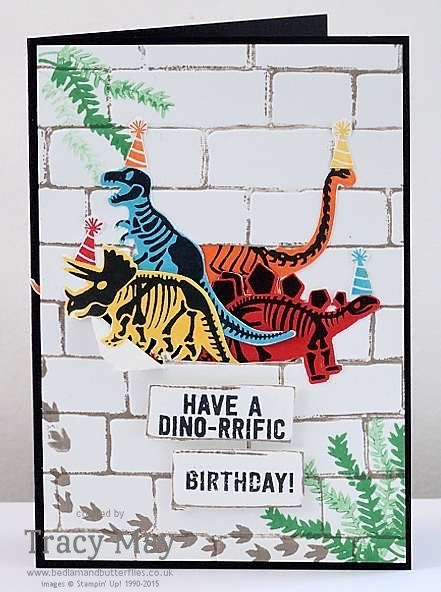 Stampin' Up! No Bones About It and Brick Wall TIEF kids birthday card ideas Tracy May