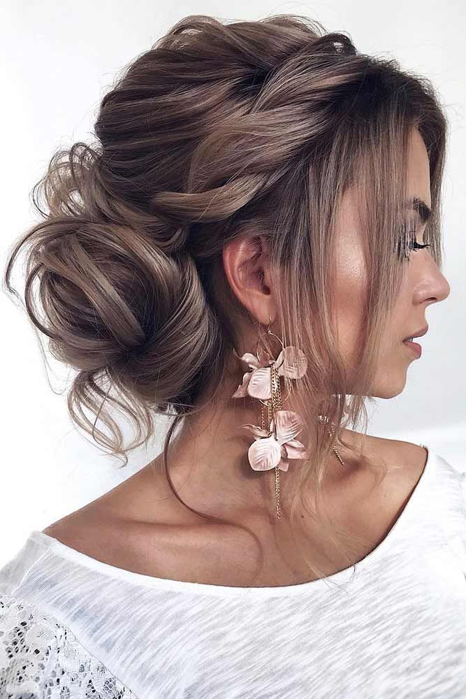 A Half Wrapped Low Bun Updo Bun Bangs Bun Hairstyles Are Exactly What You Are Looking Wedding Hair Inspiration Summer Wedding Hairstyles Hair Inspiration