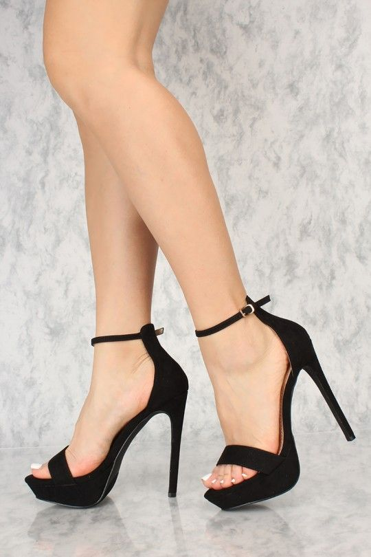 867ced70212 Sexy Black Open Toe Ankle Strap Platform Stiletto High Heels ...