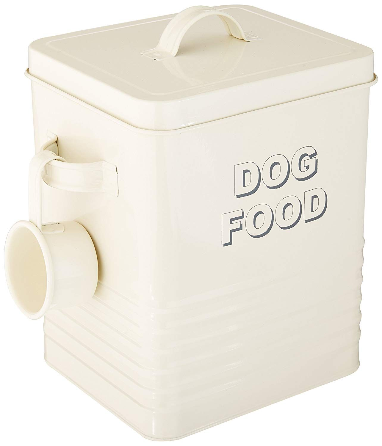 Dog Food Storage Tin With Scoop Cream Celestes Toys And Gifts