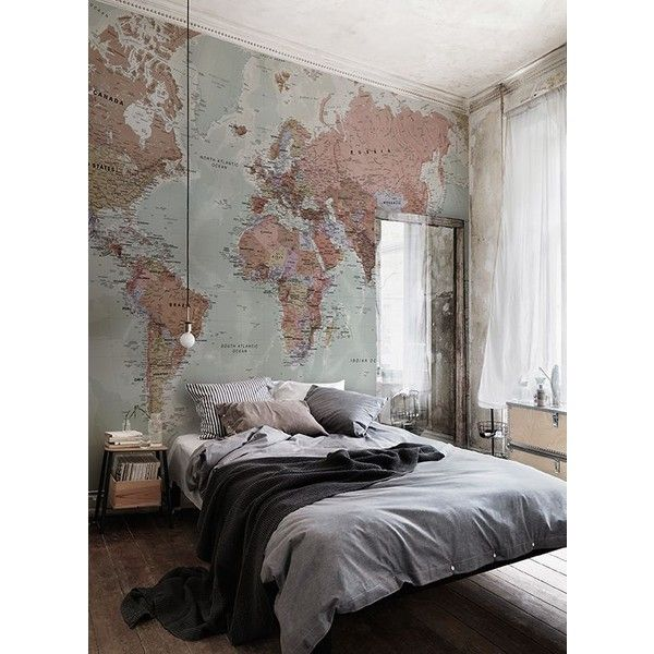 Classic world map wallpaper wall mural muralswallpaper classic world map wallpaper wall mural muralswallpaper liked on polyvore gumiabroncs Gallery