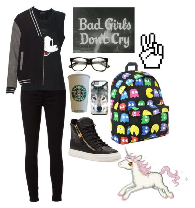 """Gothic Nerd Cute"" by thaisa-tcs ❤ liked on Polyvore featuring J Brand, Markus Lupfer and Giuseppe Zanotti"
