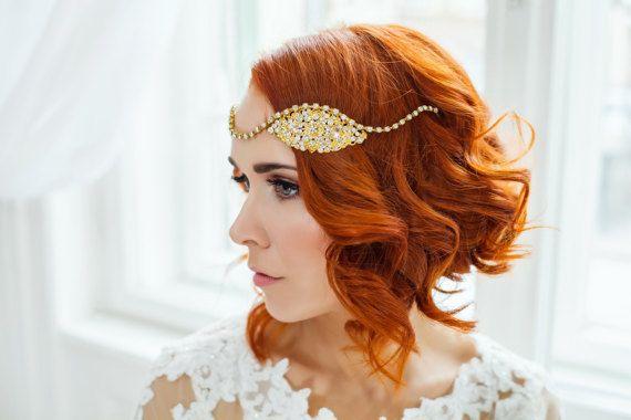 Golden Bridal Vintage Hair Piece Wedding 20s By