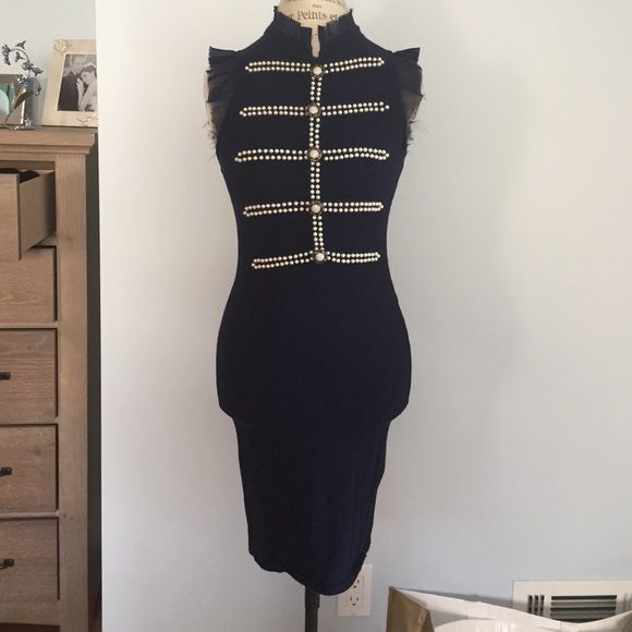 GPRGEOUS COTTON STRETCH KNIT PEARLED NAVY DRESS❄️ This is one of a kind stunning body hugging dress that is nay in color, and has Pearl design across the chest.! Size is small. Has two rips on the side that can be easily stitched up. Worn twice: per free and smoke free home. Dresses Midi