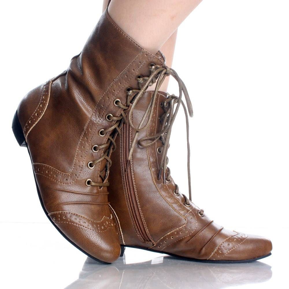 Brown Lace Up Wingtip Brogue Victorian Steampunk Womens Ankle ...
