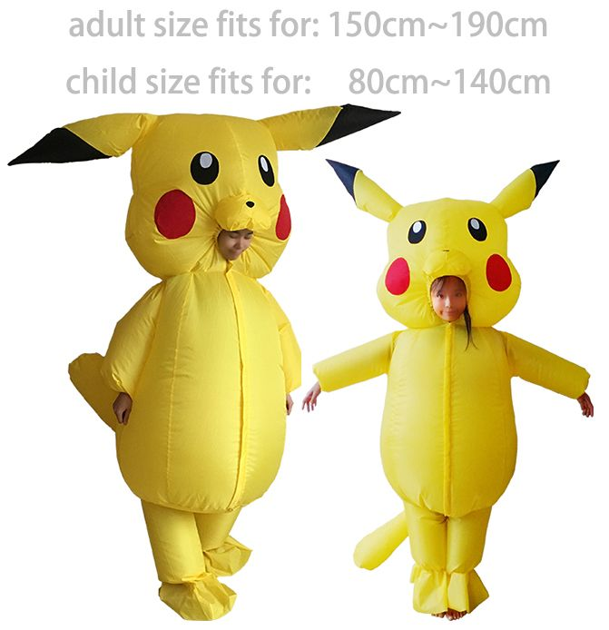 Pikachu Costume Pokemon Cosplay Inflatable Halloween Costumes for Kids Adults Outfit Men Women Blowup Mascots Fancy Dress Suit  sc 1 st  Pinterest & Pikachu Costume Pokemon Cosplay Inflatable Halloween Costumes for ...