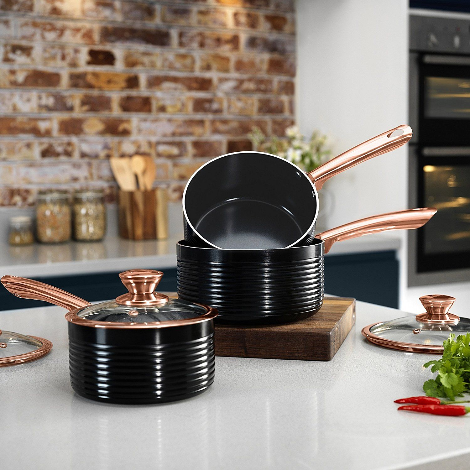 RoseGold Saucepan Set with Ceramic Non-Stick Inner Coating ...