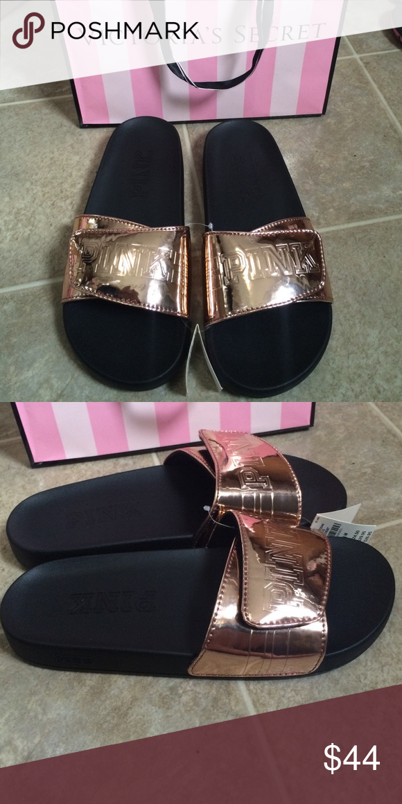 491e25e5c67463 Victoria s Secret PINK slides Rose Gold sandals M Victoria s Secret Rose  Gold slides. Adjustable Velcro width. Size medium 7 8 PINK Victoria s  Secret Shoes ...