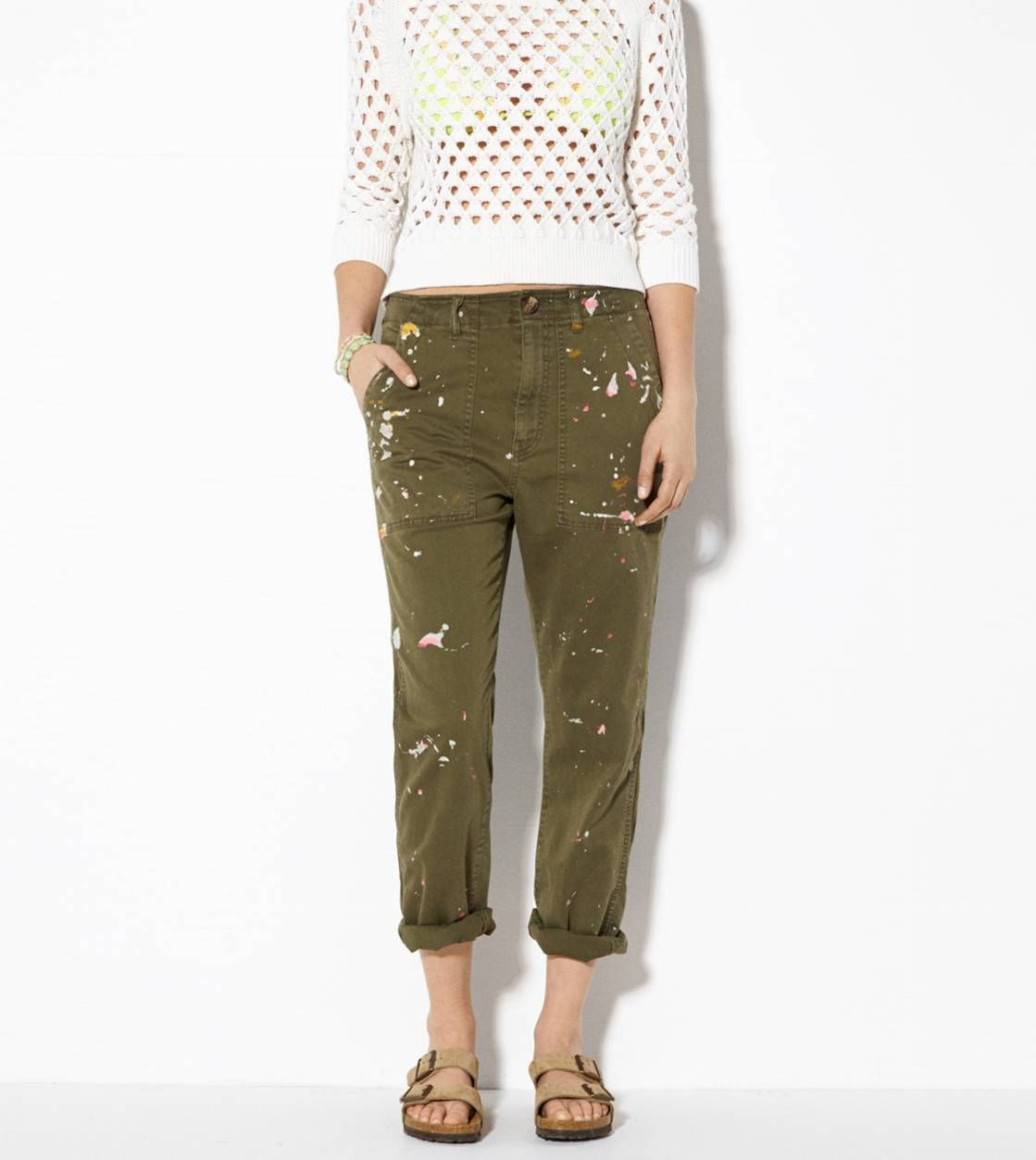 Green AE Splattered Boy Jean Crop Pant