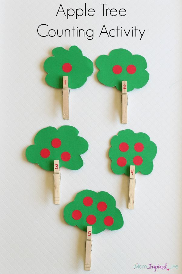 Apple theme counting activity for preschoolers. A fine motor apple tree activity for learning numbers.