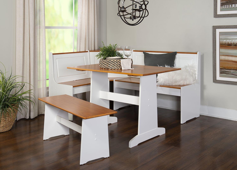 Linon Ardmore Breakfast Nook Dining Set Walmart Com Nook Dining Set Kitchen Nook Set Breakfast Nook Dining Set