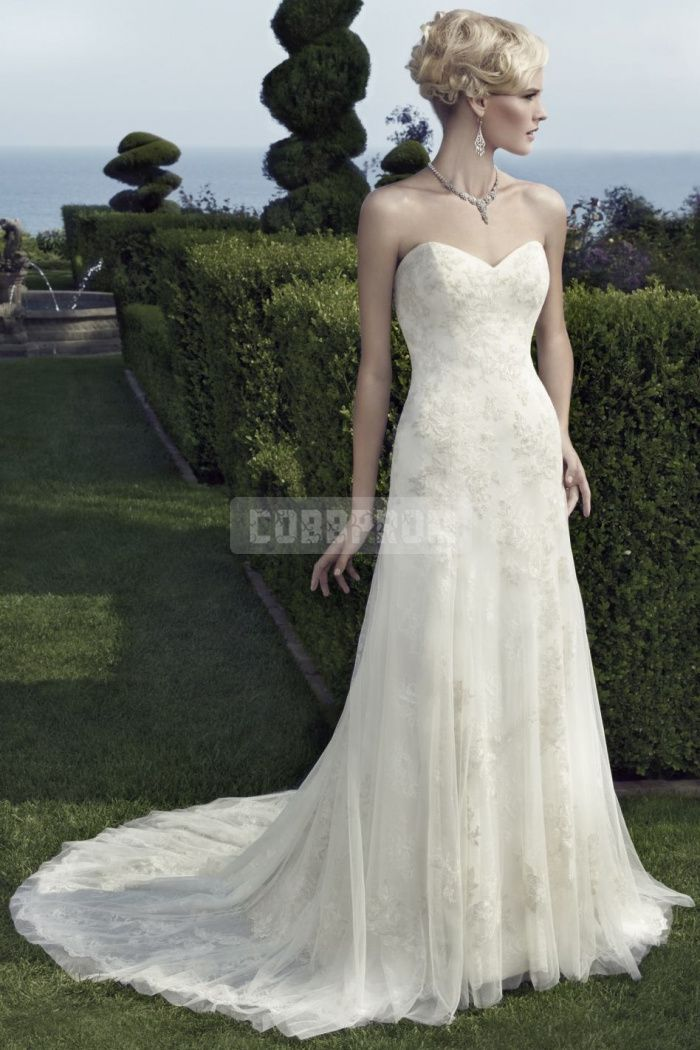 Natural Waist Lace Chapel Train Sheath Wedding Dress