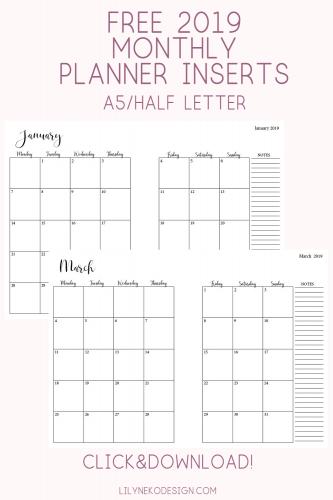 Sunday Start 2020 Travelers Notebook Calendar Insert Bundle