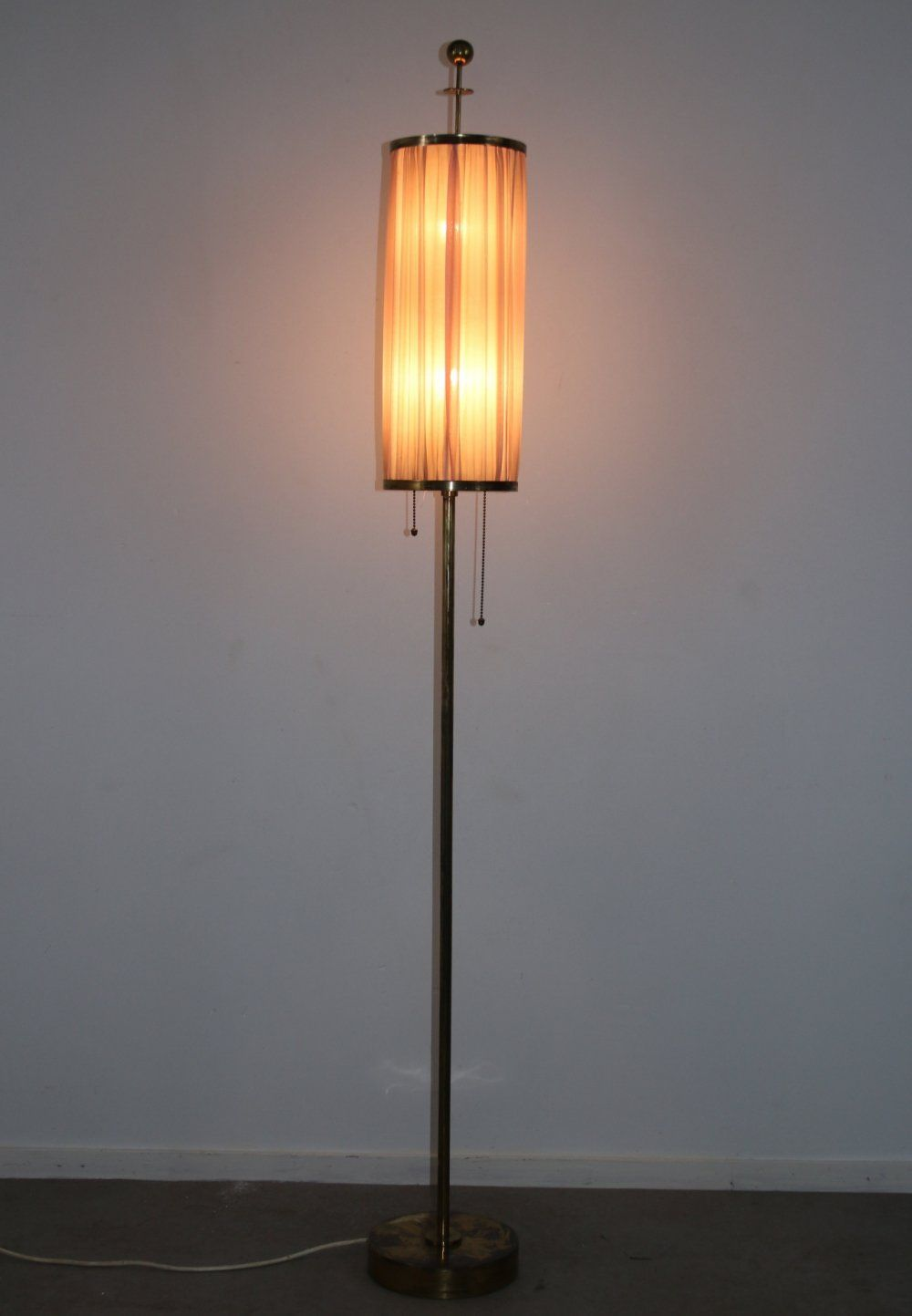 For Sale Bronze Or Brass Floor Lamp With Fabric Shade 1950s In 2020 Fabric Shades Lamp Brass Floor Lamp