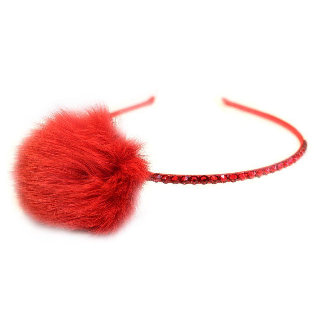 Bari Lynn Infant Fur Pompom Stretch Headband, Red