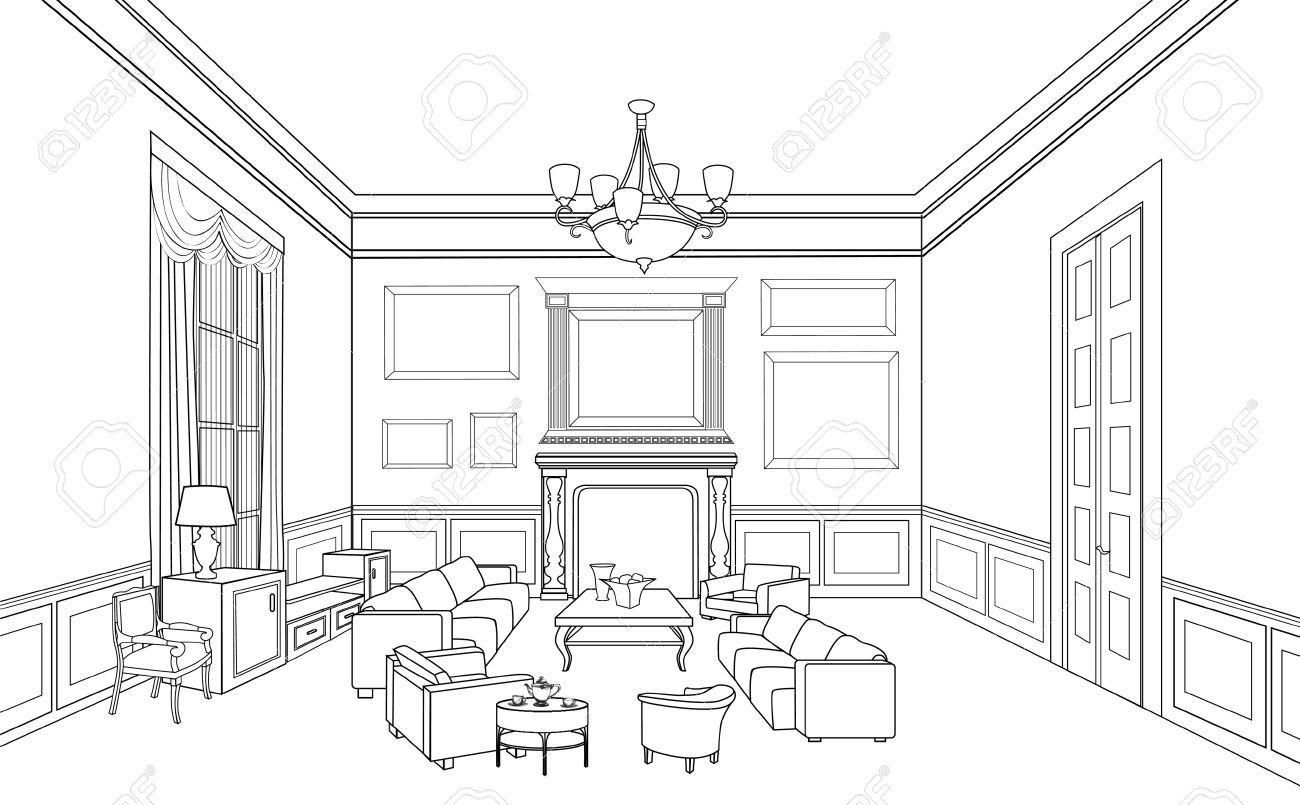 Croquis de quartos de luxo pesquisa google coco for Living room outline