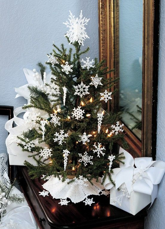 Make Your White Christmas Dreams Come True Next Holiday Season With A Wide Crochet Christmas Decorations Crochet Christmas Snowflakes Crochet Christmas Trees