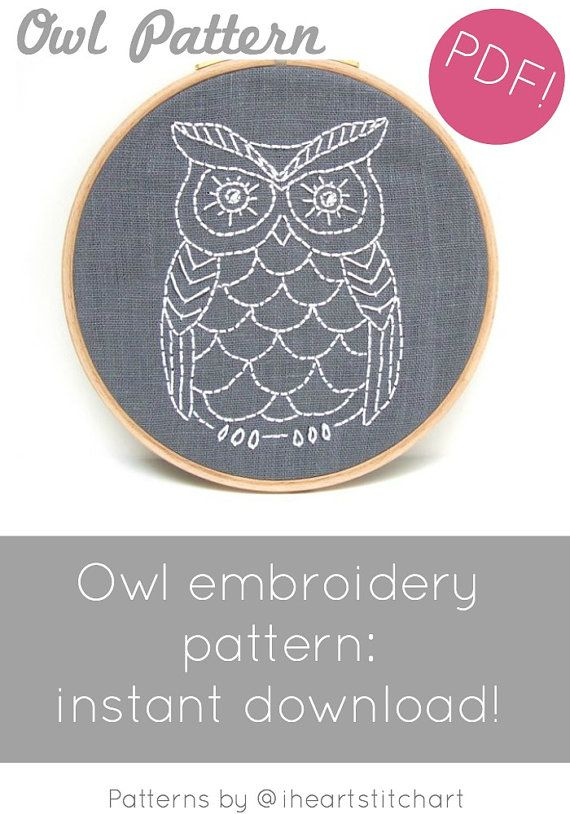 Pdf Embroidery Pattern Owl Hand Embroidery Pattern Diy Embroidery