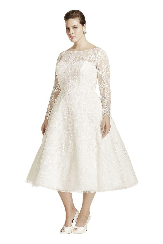 Short lace plus size oleg cassini long sleeved tea length wedding