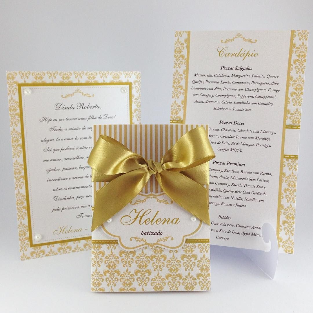 Convite, cart u00e3o para padrinho e cardápio, tudo em dourado e branco para o batizado da Helena  -> Decoracao De Batizado Branco Com Dourado