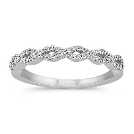 Pavé Set Diamond Wedding Band With Close Knit Infinity Design