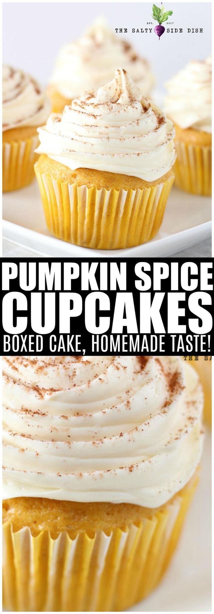 Pumpkin Spice Cupcakes with Vanilla Frosting | Salty Side Dish #pumpkinspicecupcakes