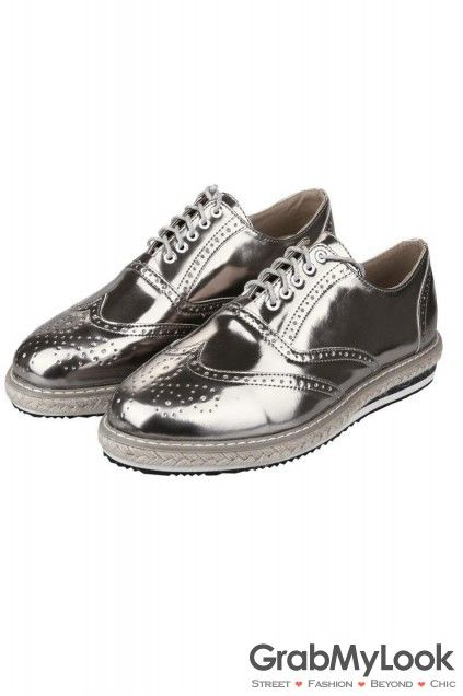 MEN's Corner :: Oxford :: Silver Patent Leather Lace Up Platforms Oxfords  Mens Sneakers