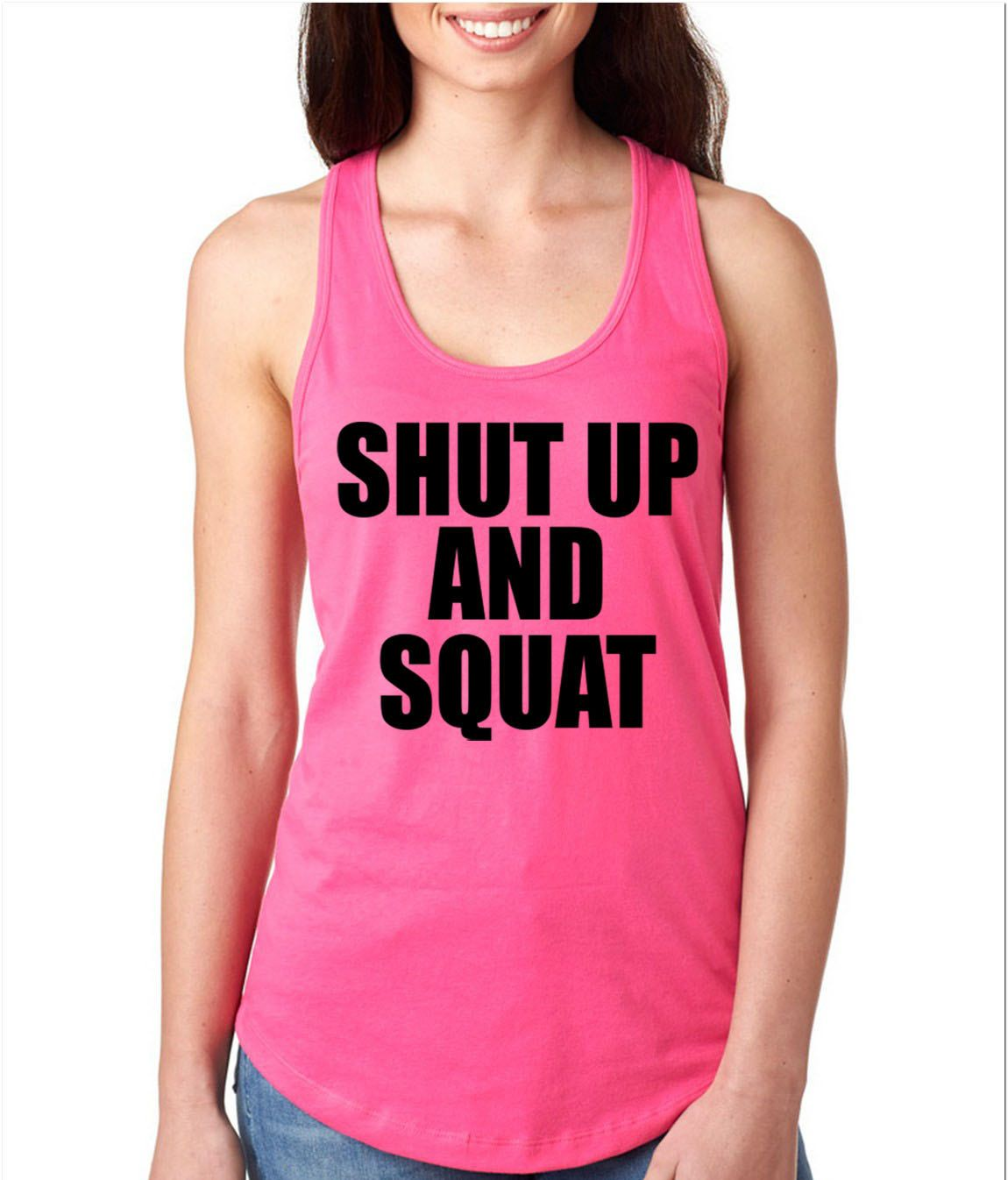 Shut Up And Squat Racerback Gym Tank Workout Tank Gym Tank by WildWindApparel on Etsy