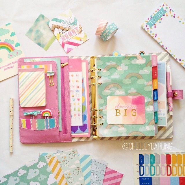 chelleydarling: Inside my @kikkik_loves pink planner! All my favorite things: happy colors, rainbows, ...
