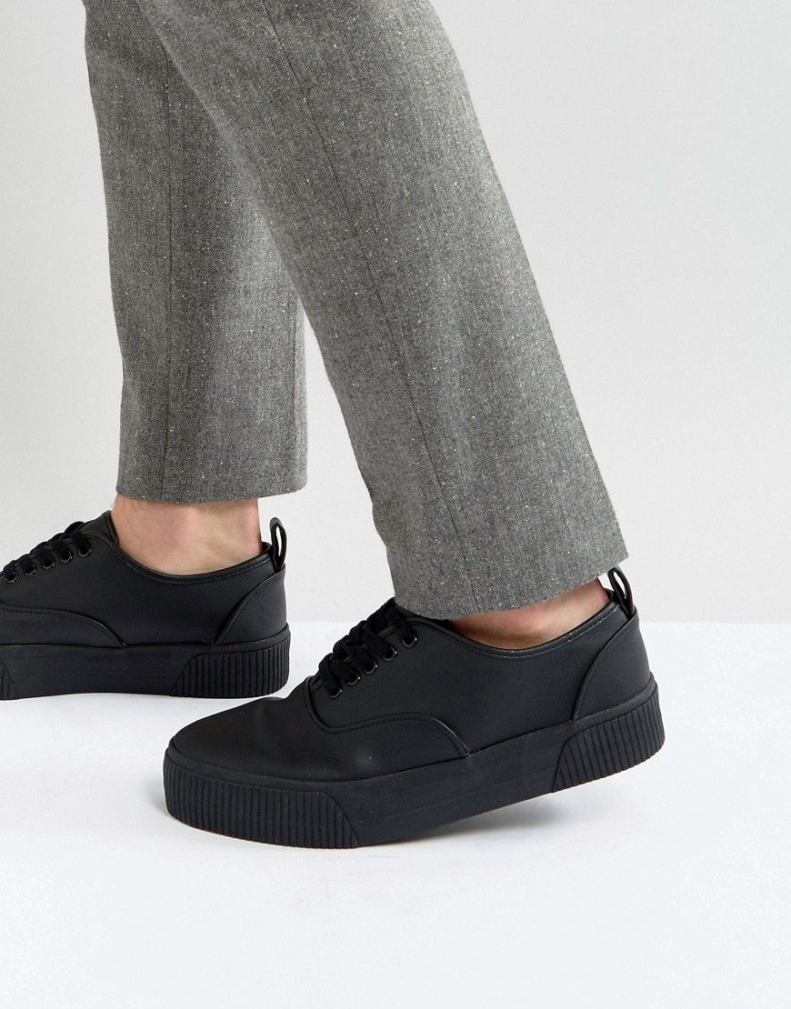 cheap for discount 869aa 5248e ASOS Lace Up Sneakers In Black With Chunky Sole - Black