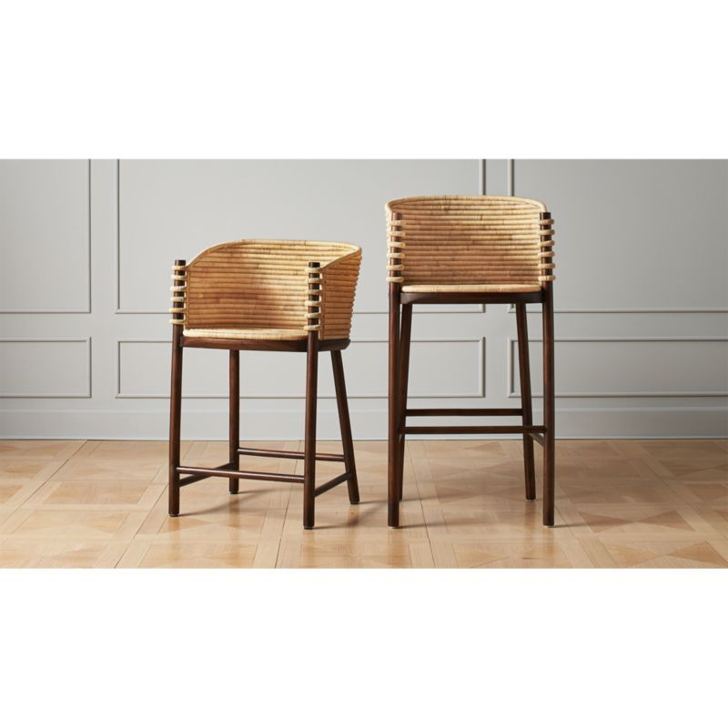 Shop Tejido Bar Stools Natural Rattan Weaves A Comforting Curved Seat Supported By A Warm Wood Frame Each Rattan Coil Is Woven Bar Stools Stool Rattan Stool