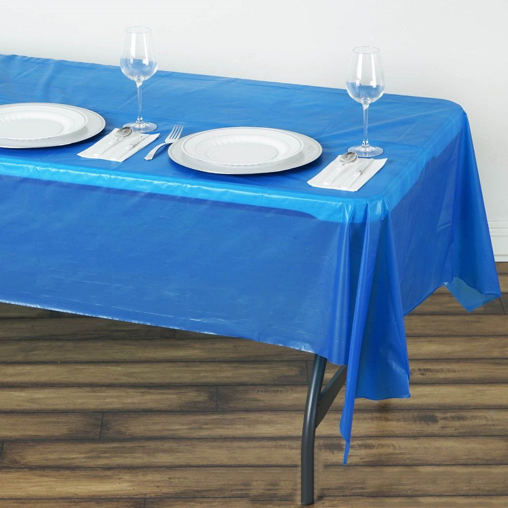 54 X 108 Royal Blue 10mil Thick Disposable Plastic Vinyl Rectangular Tablecloth In 2020 Royal Blue Wedding Decorations Blue Tablecloth Navy Blue Table Runner
