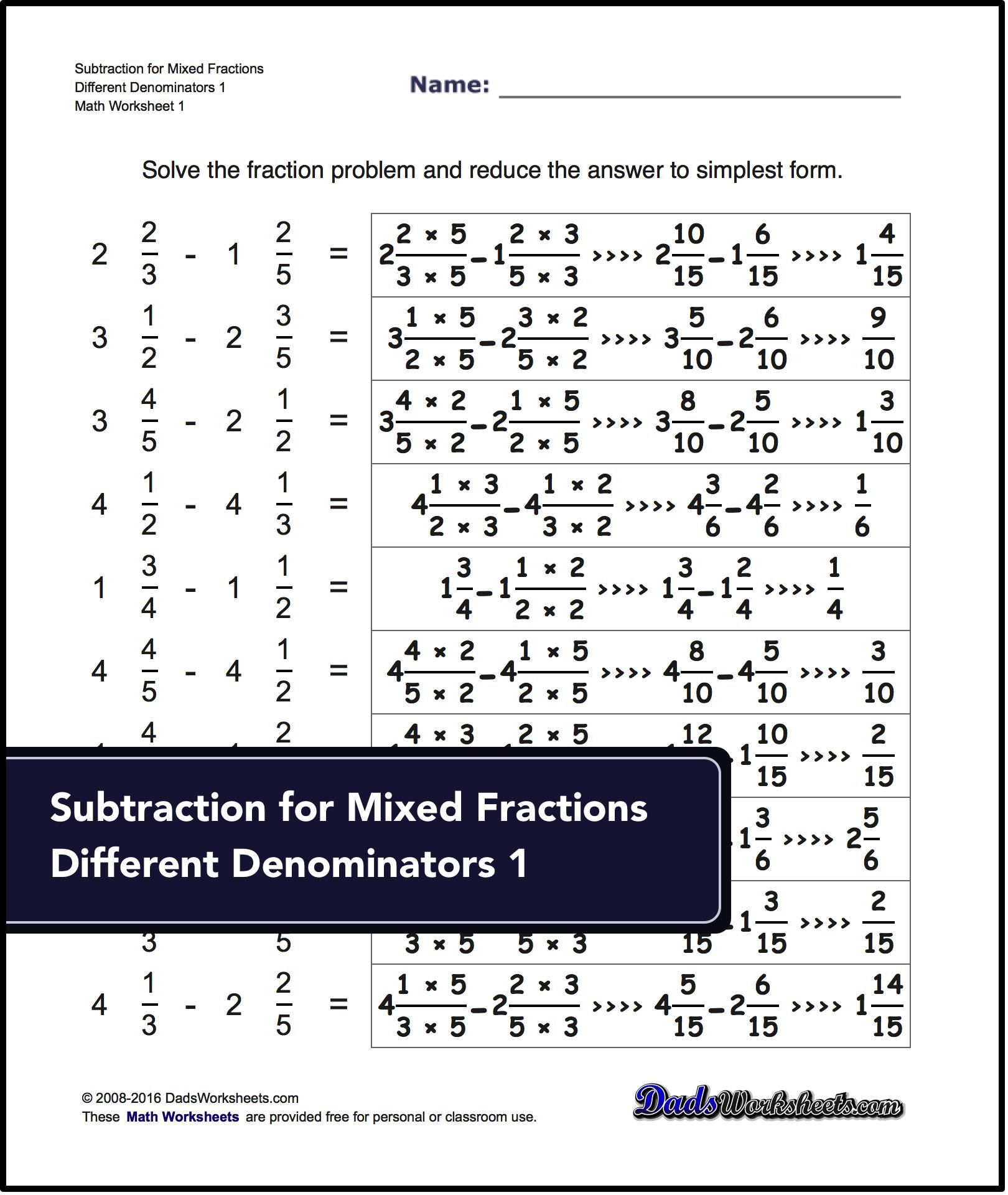 Subtracting Fractions Worksheets Subtraction Of Mixed