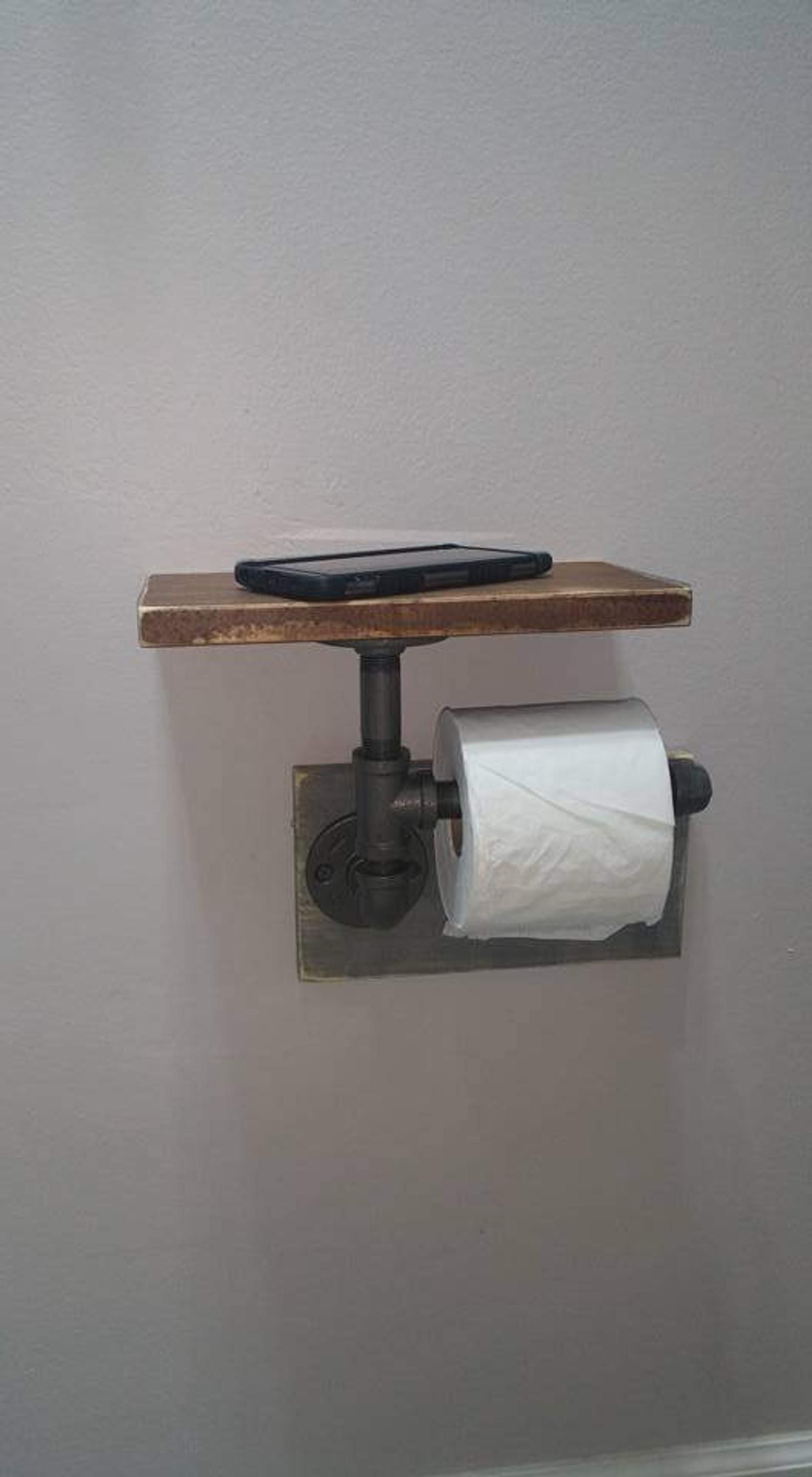 Industrial Toilet Paper Holder, Farmhouse Toilet Paper Holder, Plumbing Pipe Toilet Paper Holder, Industrial Bathroom, Rustic -  with Shelf