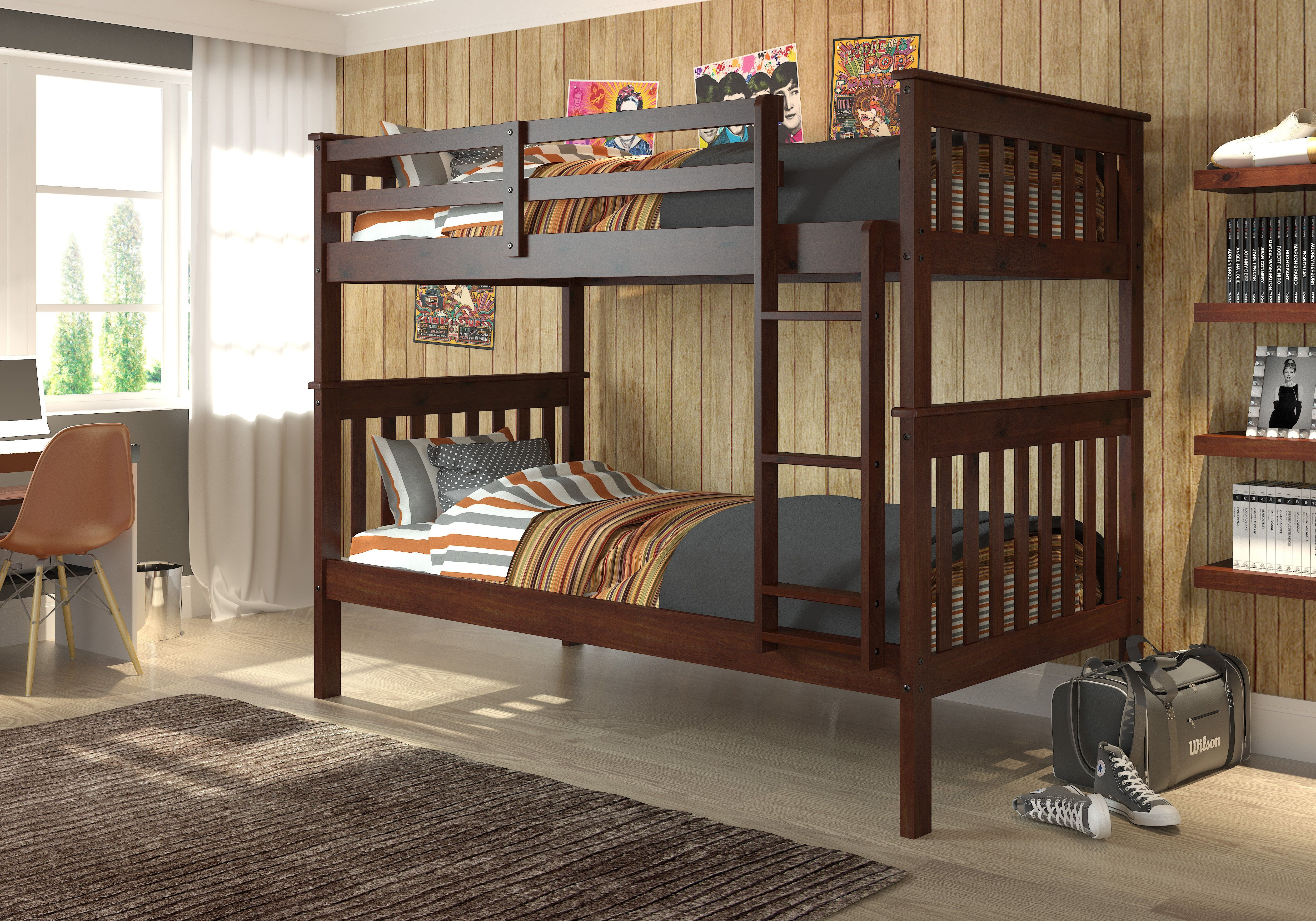 Loft bed with desk and trundle  Solid Pine Construction Cappuccino Color Twin Over Twin  Drawer
