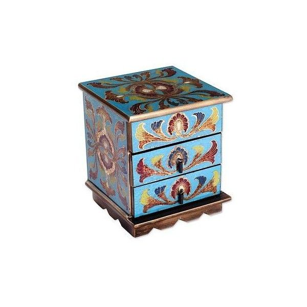 NOVICA Reverse Painted Glass Decorative Box in Blue from Peru (2,005 THB) ❤ liked on Polyvore featuring home, home decor, small item storage, blue, decor accessories, decorative boxes, novica, floral box, novica home decor and glass home decor