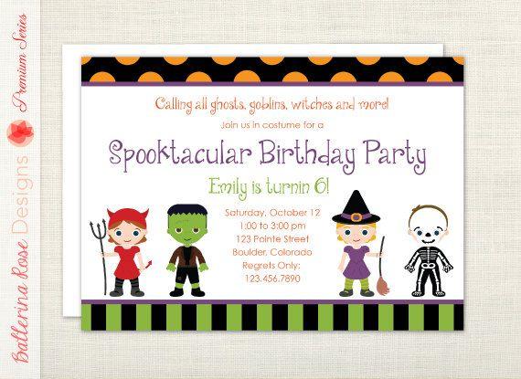 Premium kid halloween birthday party invitation witch premium kid halloween birthday party invitation witch frankenstein devil skeleton filmwisefo Image collections