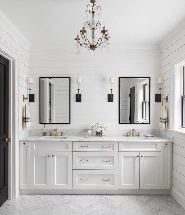 Double Sinks In White Farmhouse Bathroom Design With