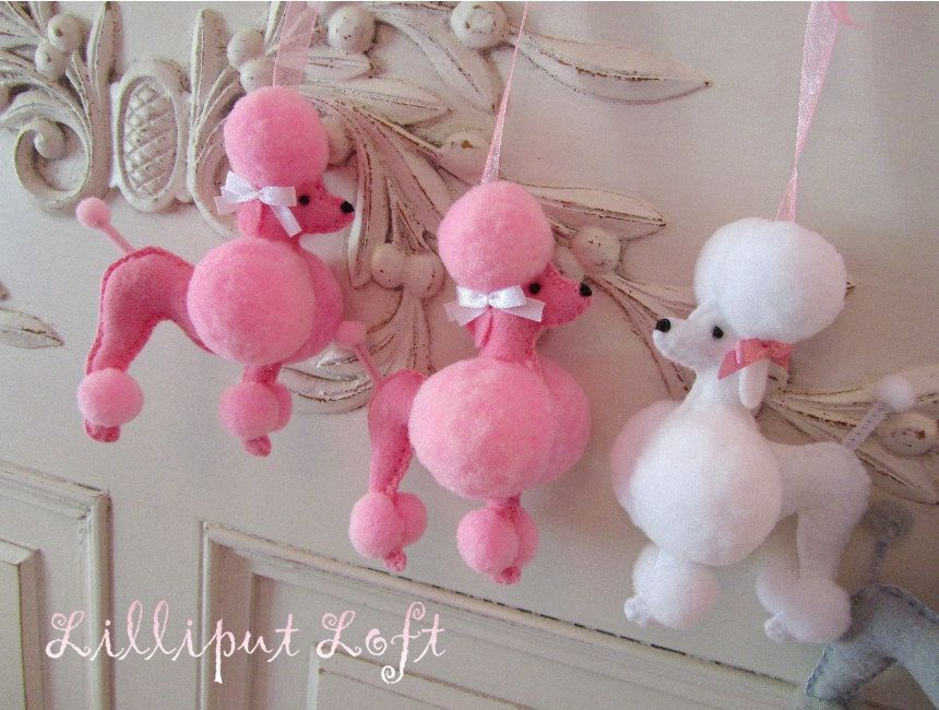 fifi the french poodle made of felt and pom poms felt. Black Bedroom Furniture Sets. Home Design Ideas