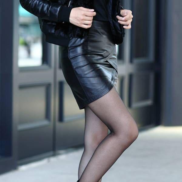 人気お洒落気分転換お出かけファッショントレンドデザインカジュアルビジネスOL職場通勤大人女性魅力格上げするスリムレザースカート S寸黒_画像2