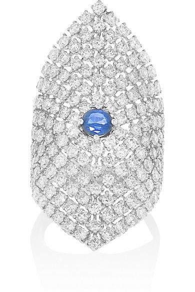 Anita Ko's ring is crafted from gleaming 18-karat white gold and set with 4.07-carats of diamonds to create a luminous mesh effect. It's punctuated with a single 0.65-carat sapphire in the center that has been skilfully faceted to catch the light. Wear this beautiful piece to your next evening event. #AnitaKo #ValentinesDay