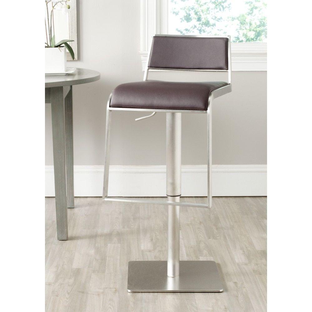 Incredible Safavieh Natania Brown Leather Adjustable 29 39 Inch Swivel Machost Co Dining Chair Design Ideas Machostcouk
