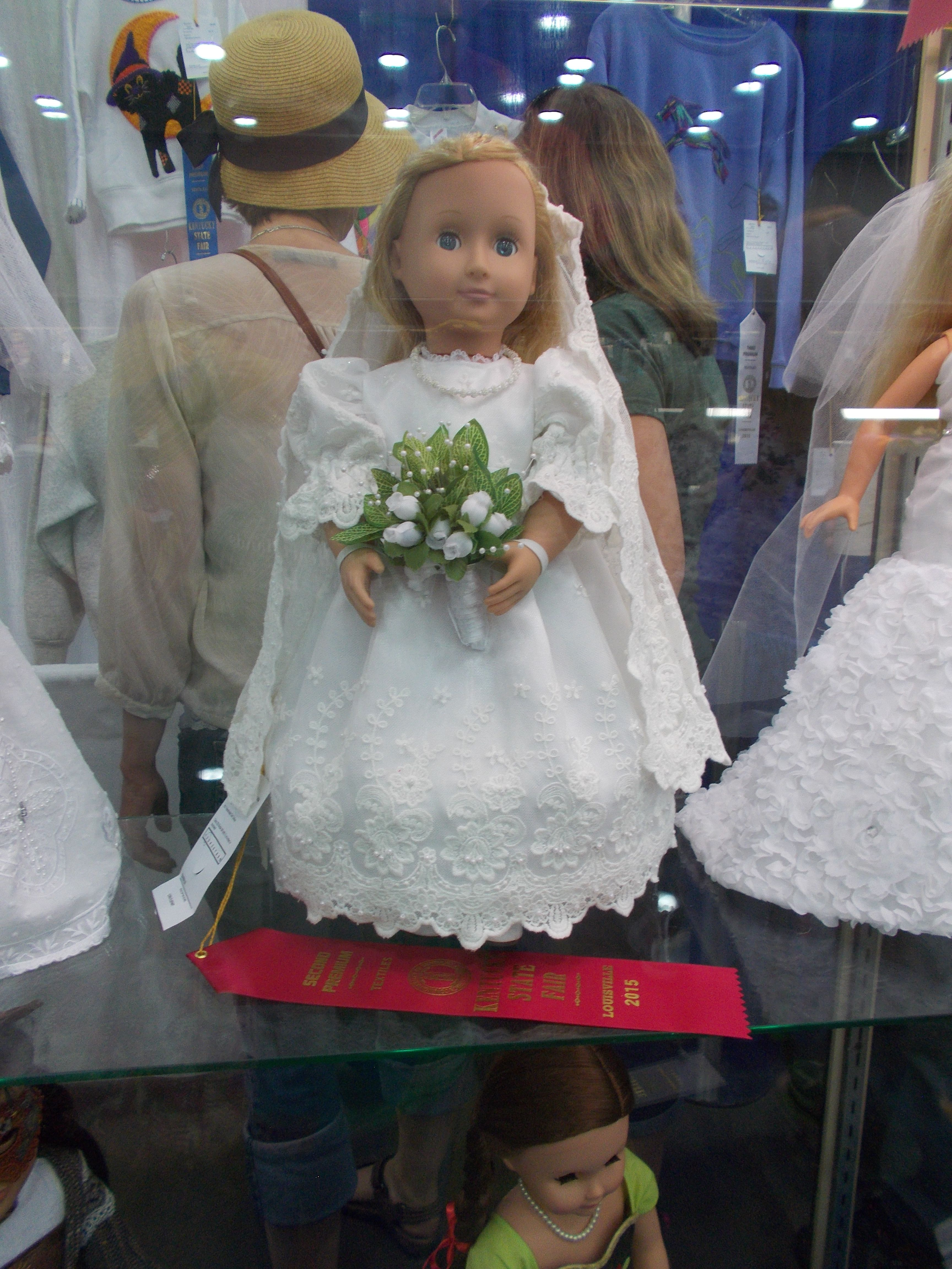 Doll wedding dress  KY State Fair  inch doll Wedding dress Red ribbon winner Made by