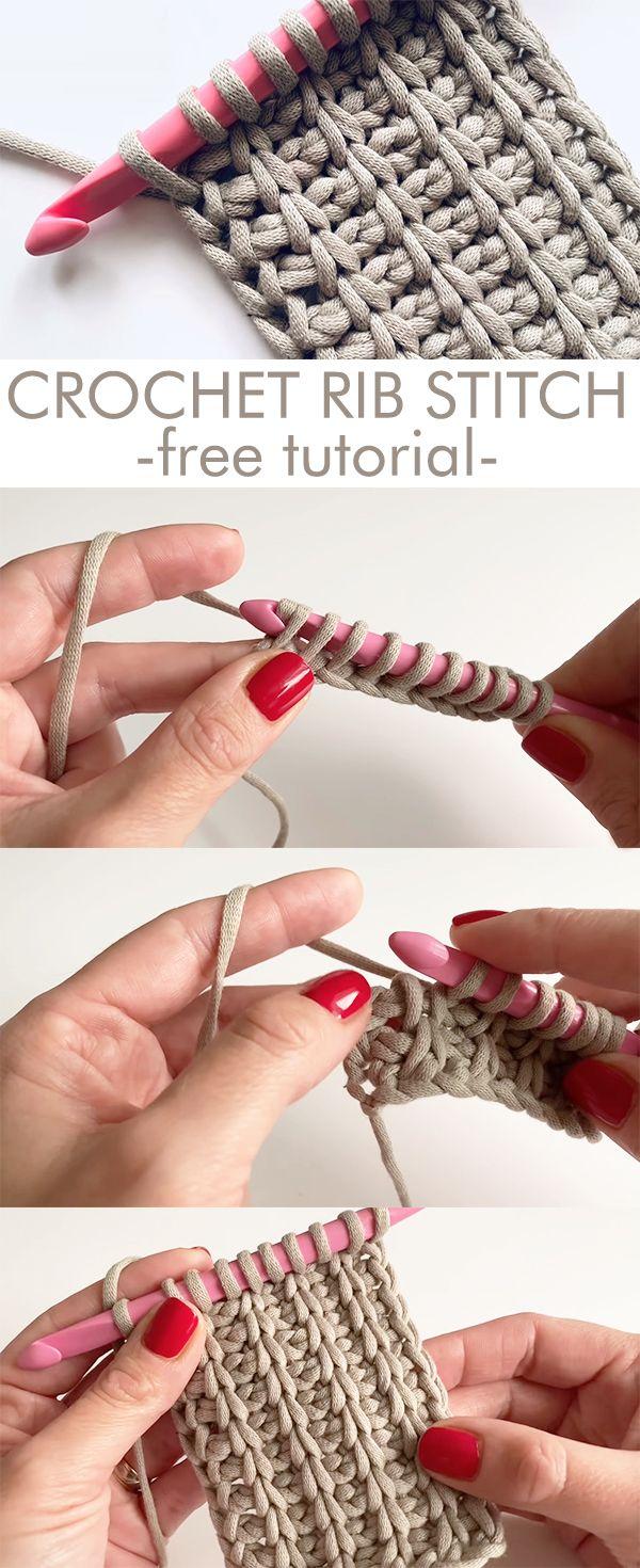 Crochet Rib Stitch - free tutorial #crochetstitchestutorial
