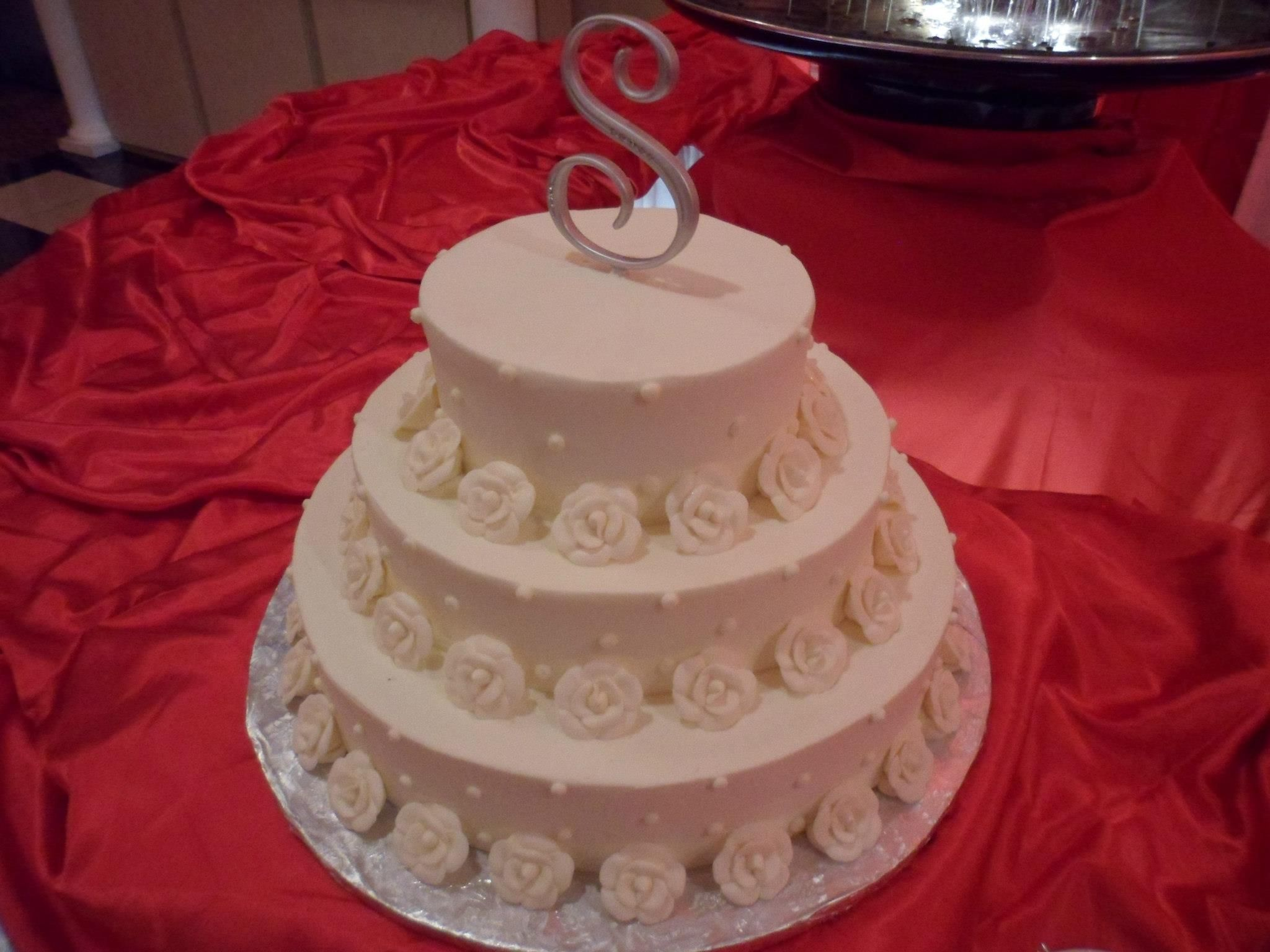 Wedding cake at the Seville in Streamwood on 3-9-13