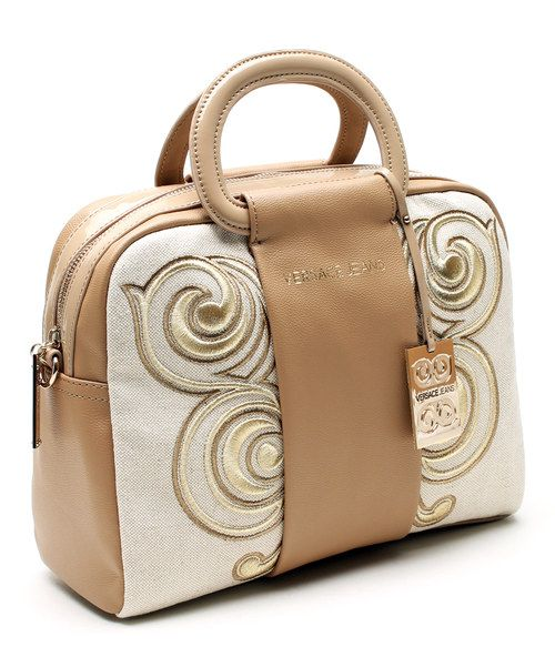 Versace Jeans Collection Beige   Tan Embroidered Satchel - HALF OFF VERSACE  HANDBAGS THIS WEEK! Authentic Versace Sale cc50b8226e373