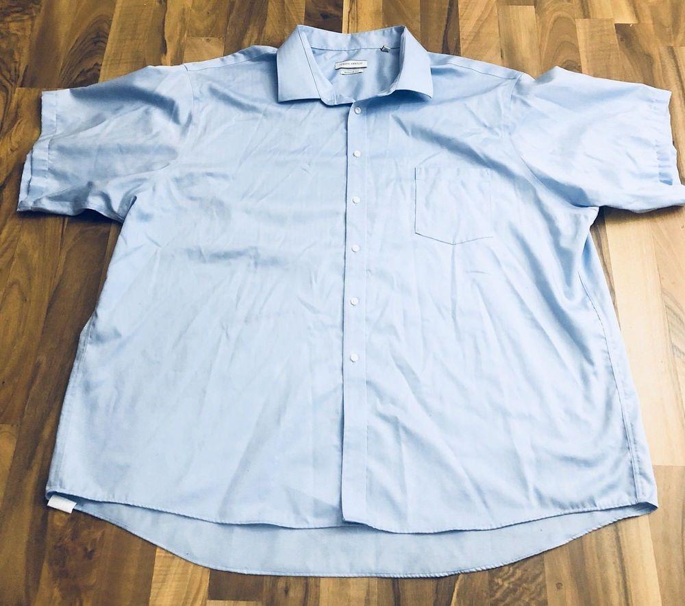 Mens Size 20 3435 Joseph Abboud Noniron Solid Blue Ss Button Up